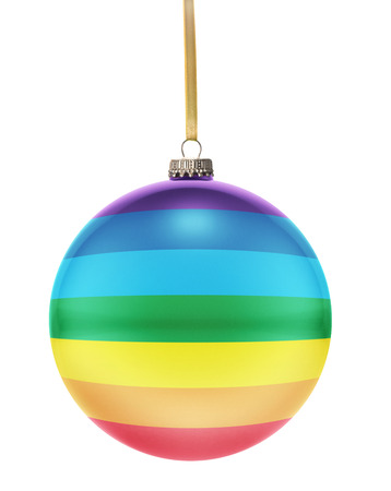 A glossy christmas ball in the national colors of Peace hanging on a golden string isolated on a white background.(series)