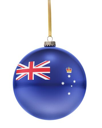 glass christmas tree ornament: A glossy christmas ball in the national colors of Victoria hanging on a golden string isolated on a white background.(series)