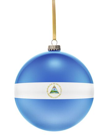 hanging string: A glossy christmas ball in the national colors of Nicaragua hanging on a golden string isolated on a white background.(series)