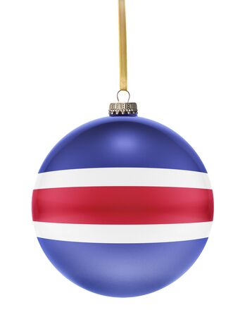 costa rican flag: A glossy christmas ball in the national colors of Costa Rica hanging on a golden string isolated on a white background.(series)