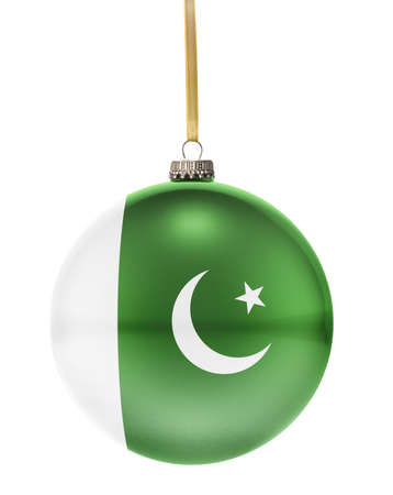 national colors: A glossy christmas ball in the national colors of Pakistan hanging on a golden string isolated on a white background.(series) Stock Photo