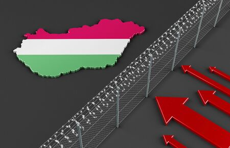 stateless: Illustration of a fence symbolizing the political situation in Hungary with refugees