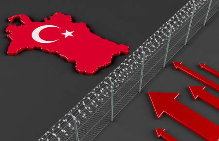 fugitive: Illustration of a fence symbolizing the political refugee situation in Turkey