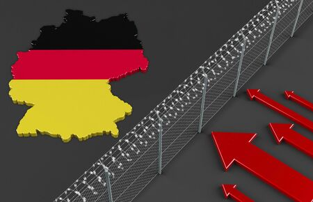 refugee: Illustration of a fence symbolizing the political refugee situation in Germany Stock Photo
