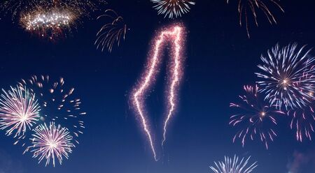 A dark night sky with a sparkling red firecracker in the shape of Israel composed into.(series) Stock Photo