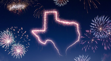 A dark night sky with a sparkling red firecracker in the shape of Texas composed into.(series)