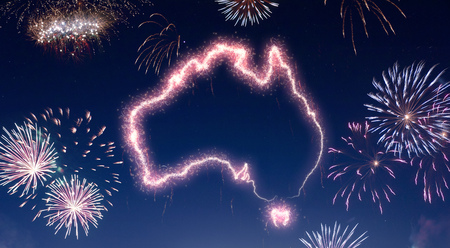 A dark night sky with a sparkling red firecracker in the shape of Australia composed into.(series)
