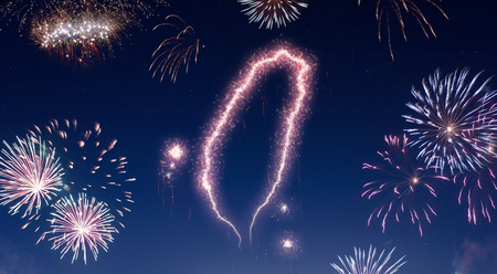 A dark night sky with a sparkling red firecracker in the shape of Taiwan composed into.(series) Stock Photo