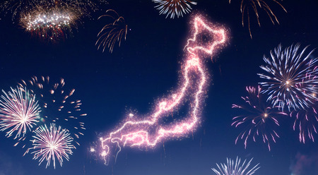 A dark night sky with a sparkling red firecracker in the shape of Japan composed into.(series) Stock Photo
