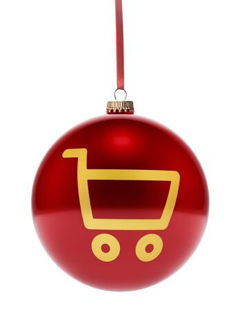 dull: A hanging glossy red bauble with the golden shape of a shopping cart.(series)