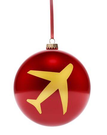 Une babiole rouge brillante pendante avec la forme dorée d'un avion. (Série)