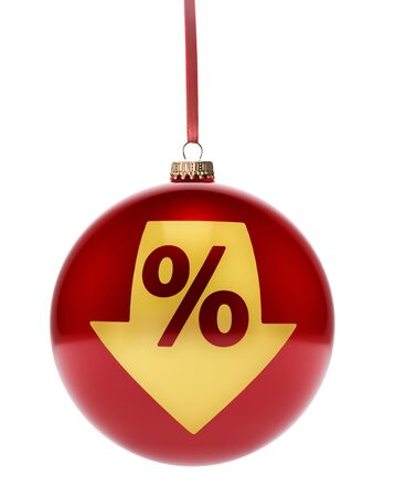 A hanging glossy red bauble with the golden shape of a discount.(series)