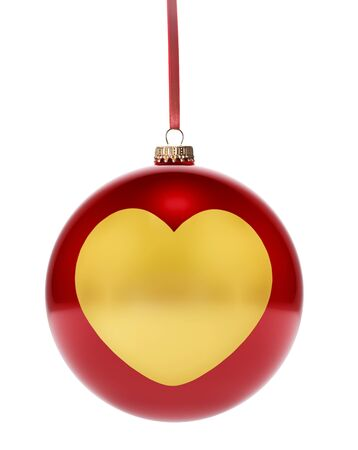 national colors: A hanging glossy red bauble with the golden shape of a heart.(series) Stock Photo