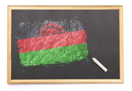 malawian flag: Blackboard with the national flag of Malawi drawn on and a chalk.(series)