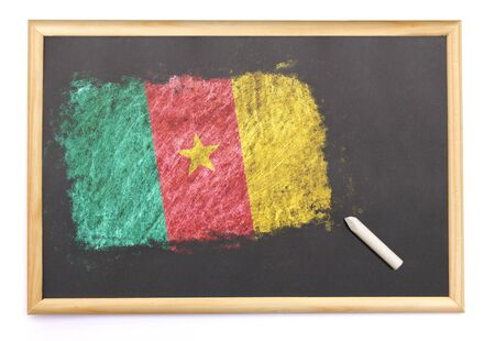 cameroonian: Blackboard with the national flag of Cameroon drawn on and a chalk.(series)