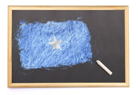 Blackboard with the national flag of Somalia drawn on and a chalk.(series) Stock Photo