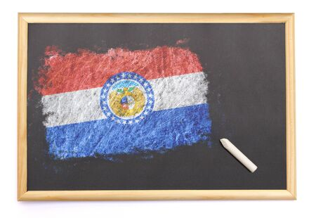 Blackboard with the national flag of Missouri drawn on and a chalk.(series)