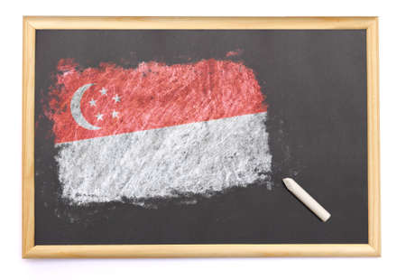 singaporean flag: Blackboard with the national flag of Singapore drawn on and a chalk.(series) Editorial