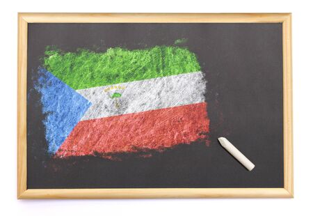equatorial guinea: Blackboard with the national flag of Equatorial Guinea drawn on and a chalk.(series) Stock Photo