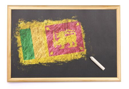 sri lankan flag: Blackboard with the national flag of Sri Lanka drawn on and a chalk.(series)