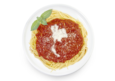 Freshly cooked dish of tasty pasta with tomato sauce and parmesan cheese in the shape of Thailand .(series)