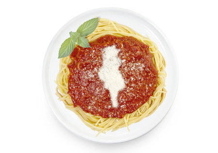 Freshly cooked dish of tasty pasta with tomato sauce and parmesan cheese in the shape of Tunisia .(series)