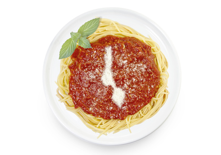Freshly cooked dish of tasty pasta with tomato sauce and parmesan cheese in the shape of Malawi .(series)