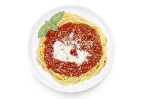 Freshly cooked dish of tasty pasta with tomato sauce and parmesan cheese in the shape of Canada .(series)