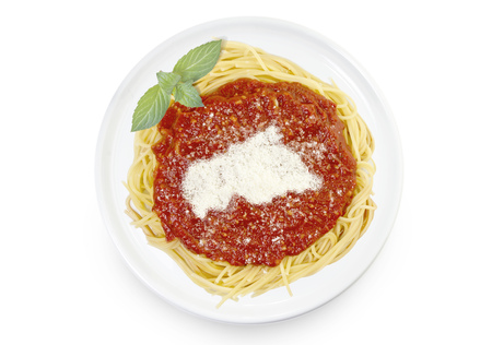 Freshly cooked dish of tasty pasta with tomato sauce and parmesan cheese in the shape of Central African Republic .(series) Stock Photo