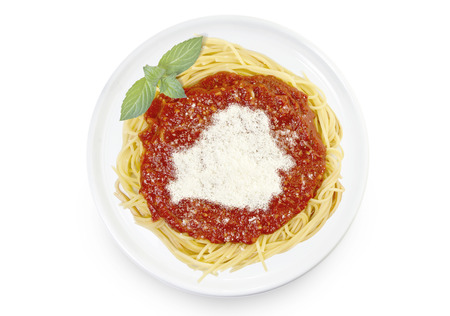 Freshly cooked dish of tasty pasta with tomato sauce and parmesan cheese in the shape of Belarus .(series)