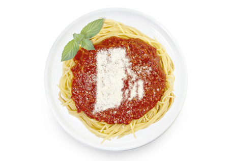 Freshly cooked dish of tasty pasta with tomato sauce and parmesan cheese in the shape of Rhode Island .(series)