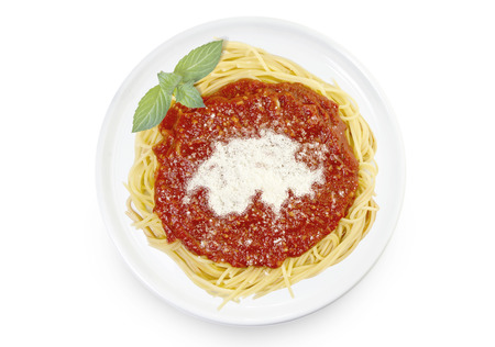 Freshly cooked dish of tasty pasta with tomato sauce and parmesan cheese in the shape of Switzerland .(series)