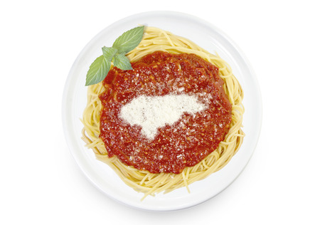 Freshly cooked dish of tasty pasta with tomato sauce and parmesan cheese in the shape of Honduras .(series)
