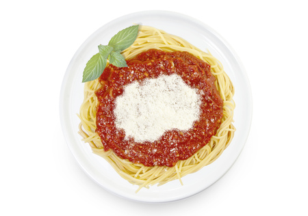 Freshly cooked dish of tasty pasta with tomato sauce and parmesan cheese in the shape of Macedonia