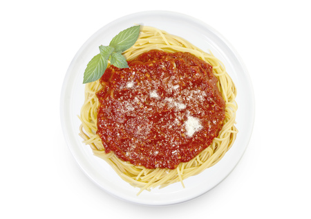Freshly cooked dish of tasty pasta with tomato sauce and parmesan cheese in the shape of Hawaii .(series) Stock Photo