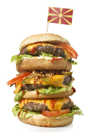 xxl: Fresh and tasty XXL hamburger with the flag of Macedonia.(series) Stock Photo