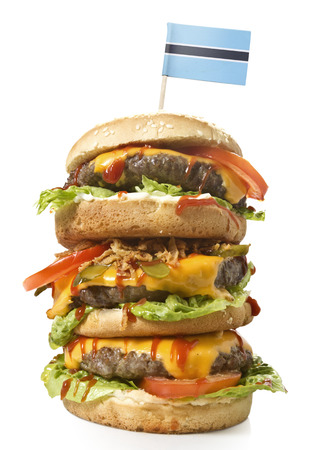 botswanan: Fresh and tasty XXL hamburger with the flag of Botswana.(series)