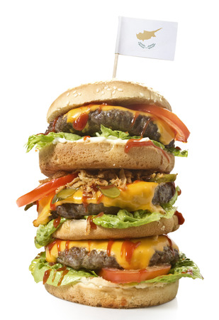 Fresh and tasty XXL hamburger with the flag of Cyprus.(series) Stock Photo