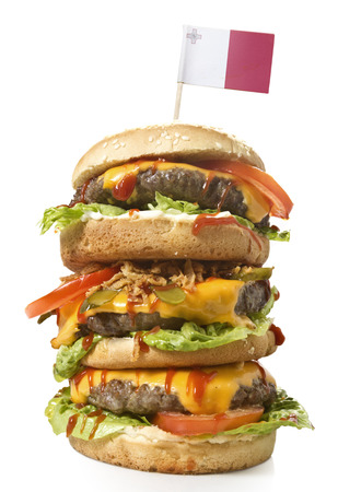 Fresh and tasty XXL hamburger with the flag of Malta.(series)