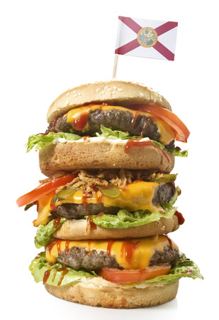 xxl: Fresh and tasty XXL hamburger with the flag of Florida.(series) Stock Photo