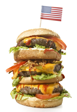 xxl: Fresh and tasty XXL hamburger with the flag of USA.(series)