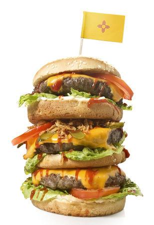 Fresh and tasty XXL hamburger with the flag of New Mexico.(series)