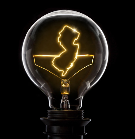 Clean and shiny lightbulb with New Jersey as a glowing wire.(series)