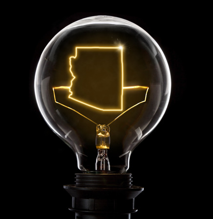 Clean and shiny lightbulb with Arizona as a glowing wire.(series)