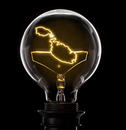 Clean and shiny lightbulb with Malta as a glowing wire.(series) Stock Photo