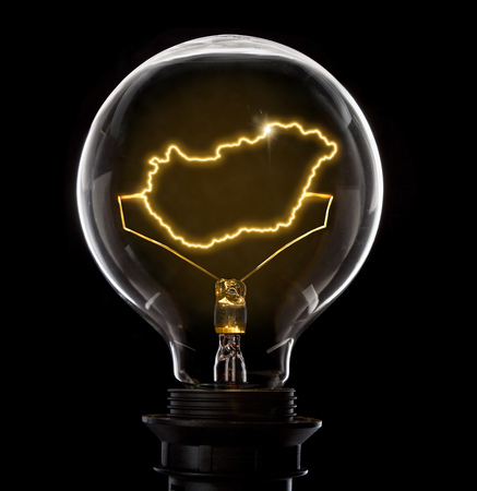Clean and shiny lightbulb with Hungary as a glowing wire.(series)