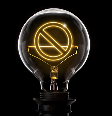 interdiction: Clean and shiny lightbulb with a forbidden symbol as a glowing wire.(series) Stock Photo