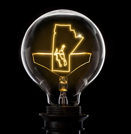 Clean and shiny lightbulb with Manitoba as a glowing wire. Stock Photo