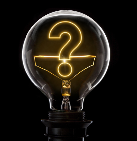 Clean and shiny lightbulb with a question mark as a glowing wire.(series) Stock Photo