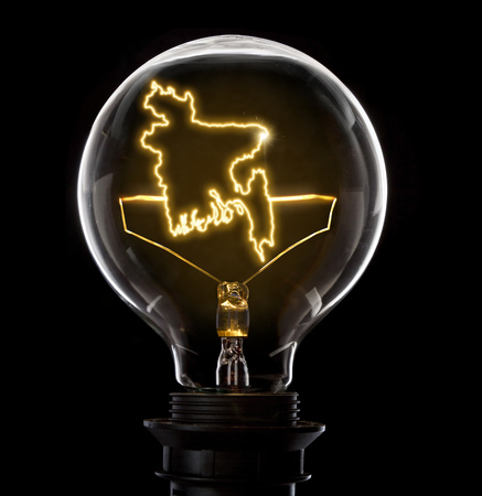 Clean and shiny lightbulb with Bangladesh as a glowing wire.(series)